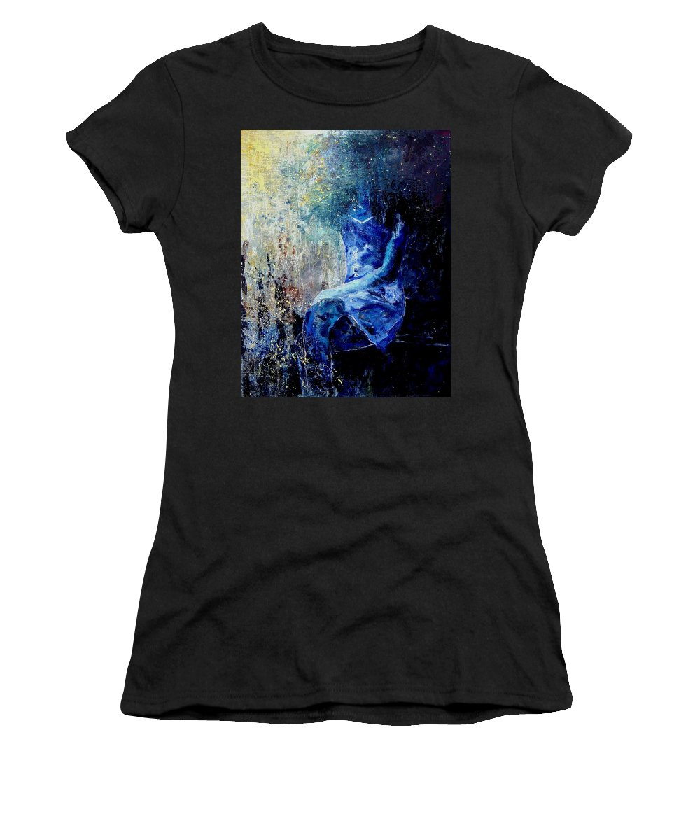 Woman Girl Fashion Women's T-Shirt featuring the painting Sitting Young Girl by Pol Ledent