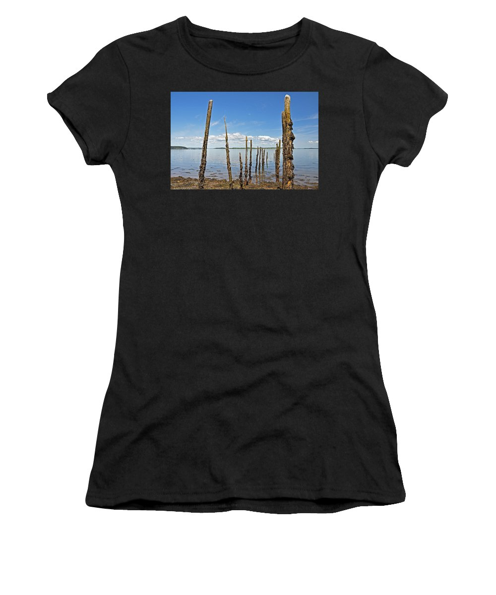Pier Women's T-Shirt (Athletic Fit) featuring the photograph Skeleton Pier by Glenn Gordon