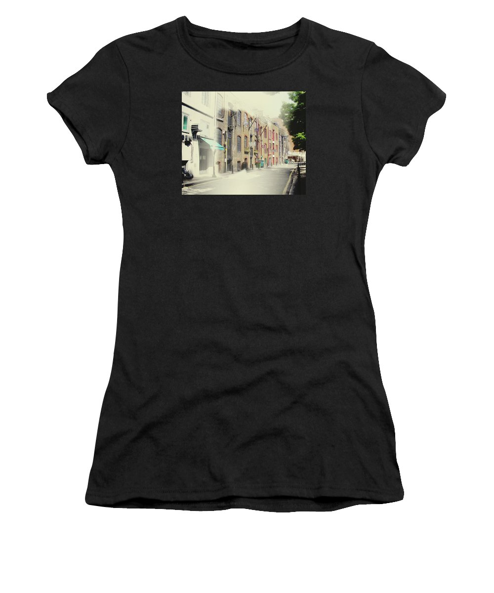 Street Women's T-Shirt (Athletic Fit) featuring the painting Sketch Of London Street by Elaine Plesser