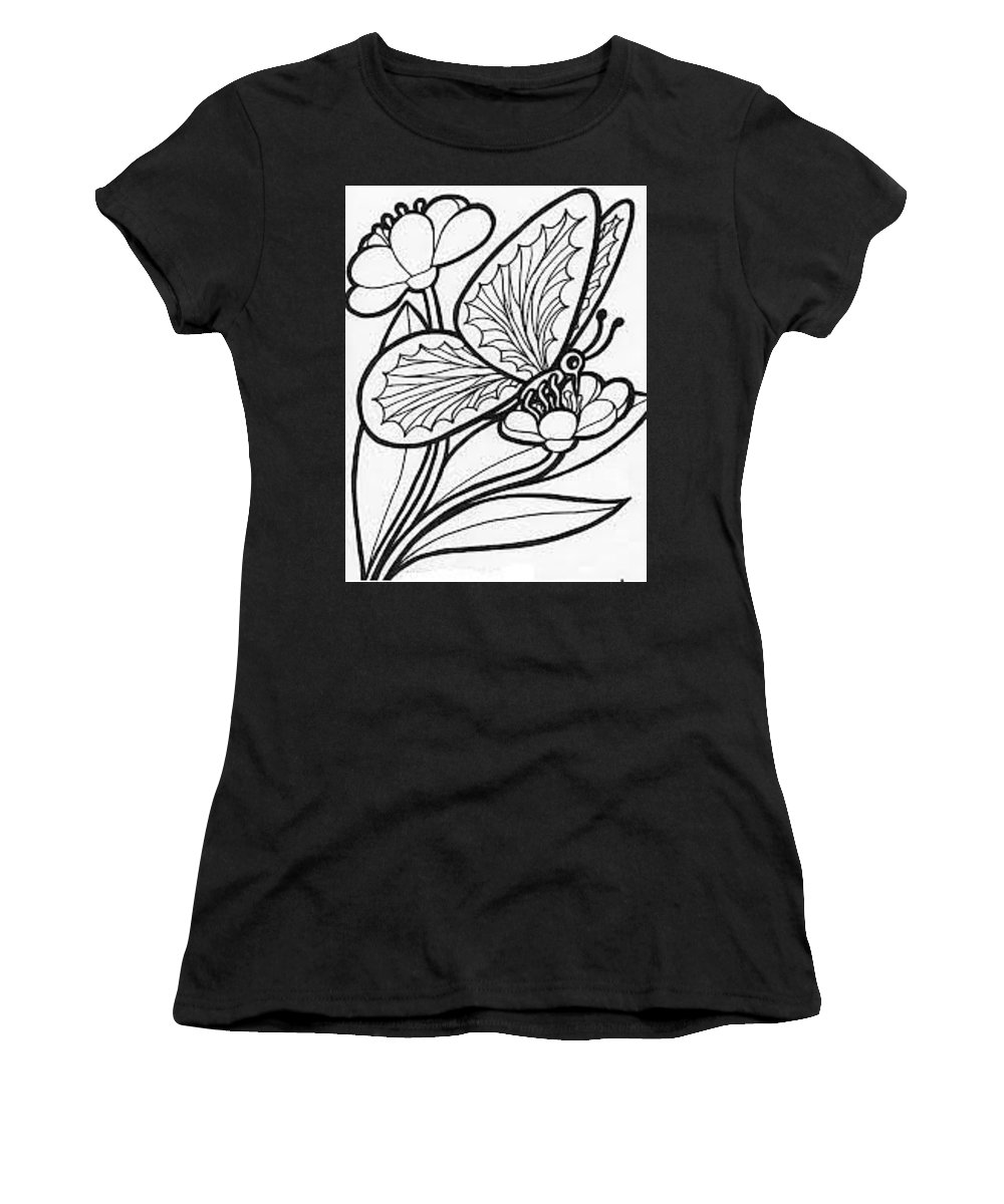 Butterfly Women's T-Shirt (Athletic Fit) featuring the drawing Sketch Painting by Supriya Singh
