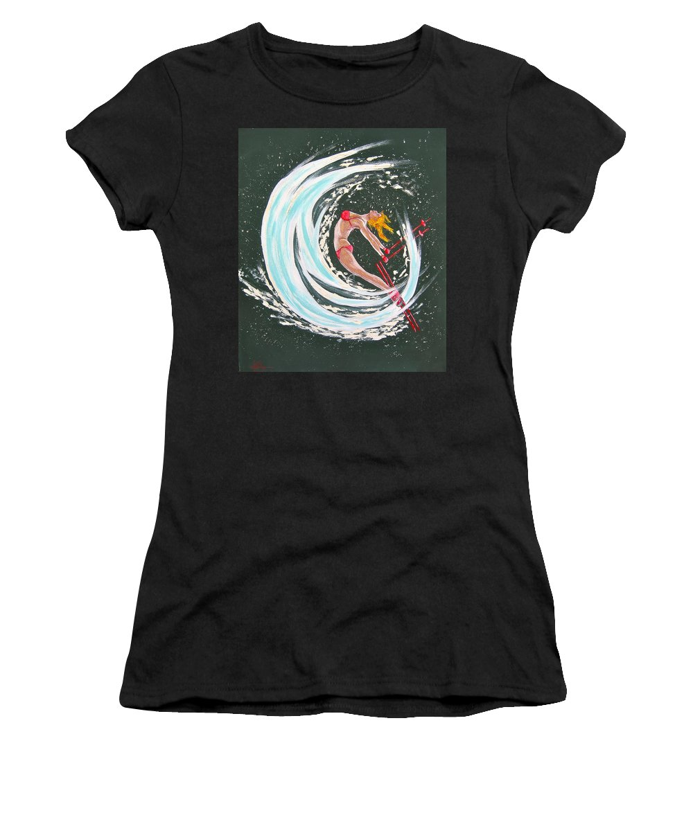 Abstract Sports Women's T-Shirt (Athletic Fit) featuring the painting Ski Bunny by V Boge