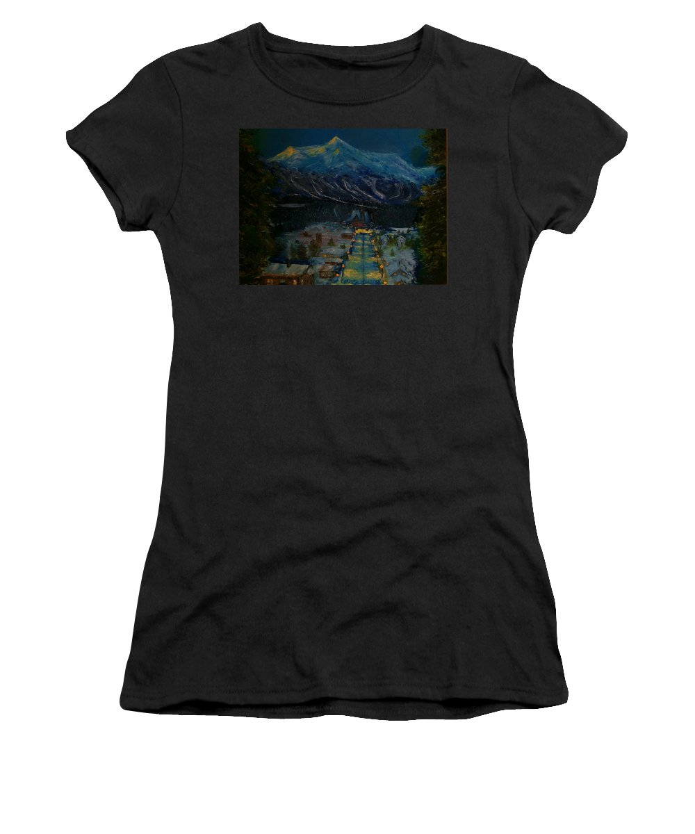 Winter Women's T-Shirt (Athletic Fit) featuring the painting Ski Resort by Stephen King