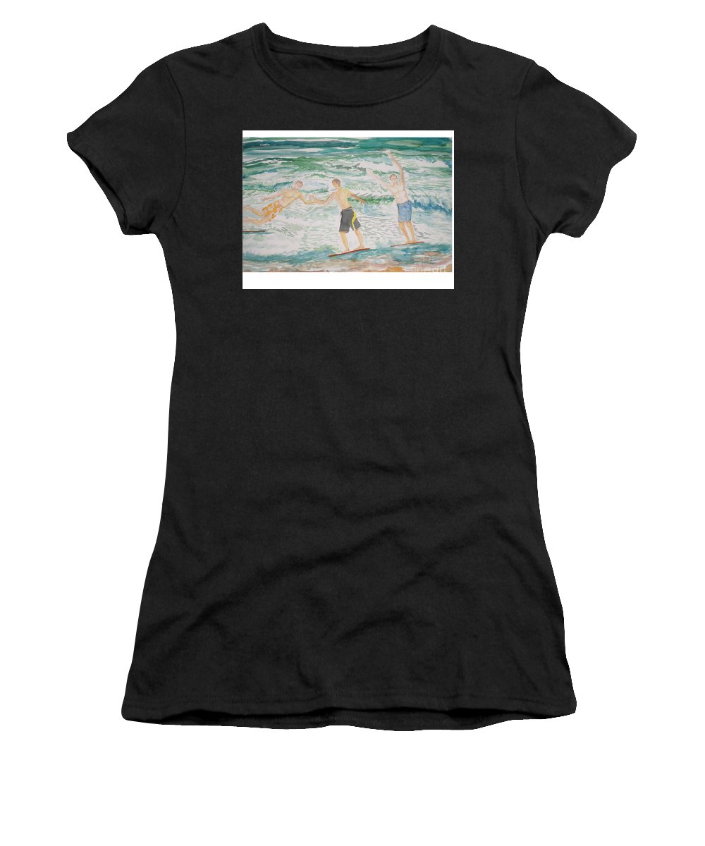 Seascape Women's T-Shirt (Athletic Fit) featuring the painting Skim Boarding Daytona Beach by Hal Newhouser