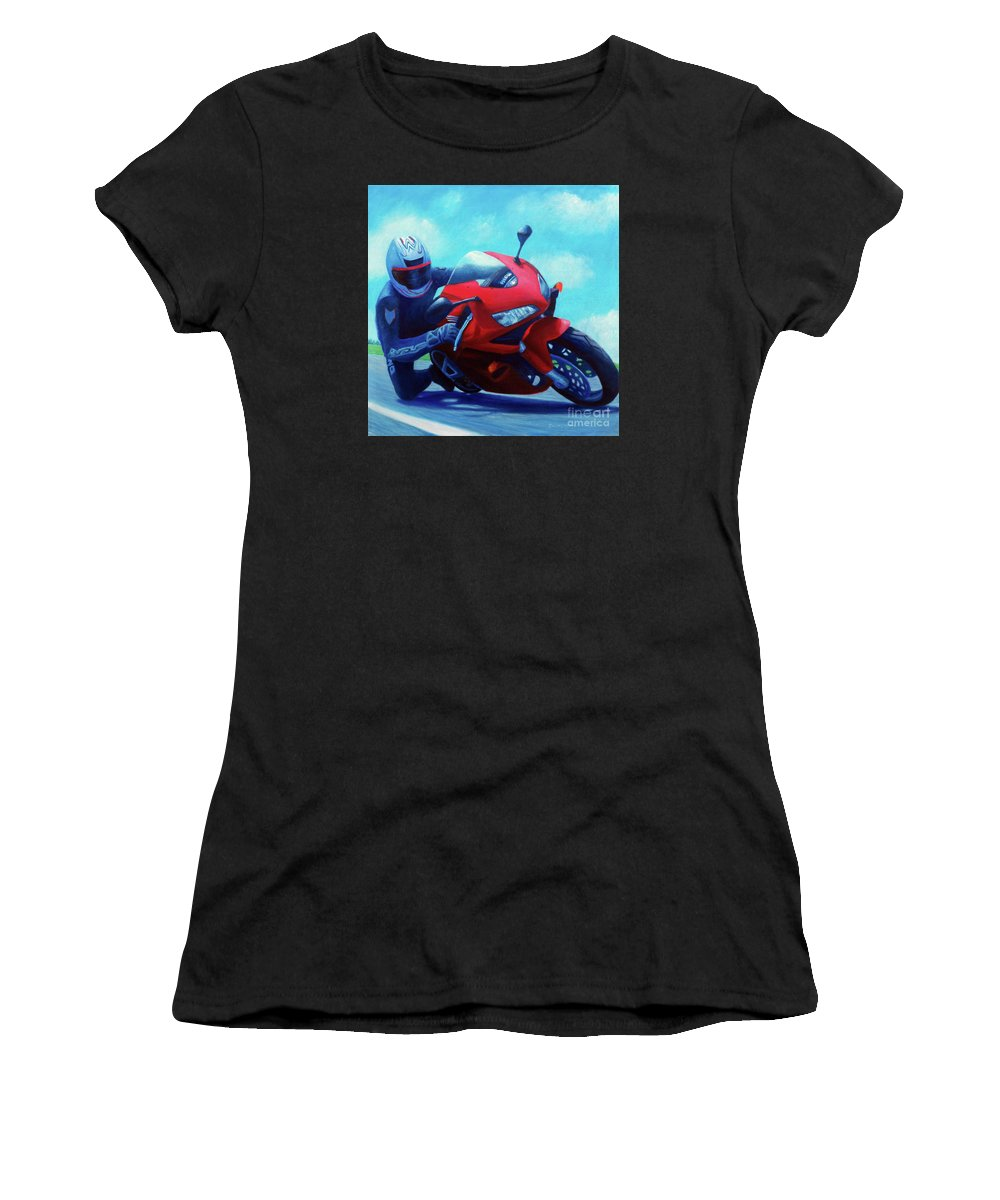 Motorcycle Women's T-Shirt (Athletic Fit) featuring the painting Sky Pilot - Honda Cbr600 by Brian Commerford