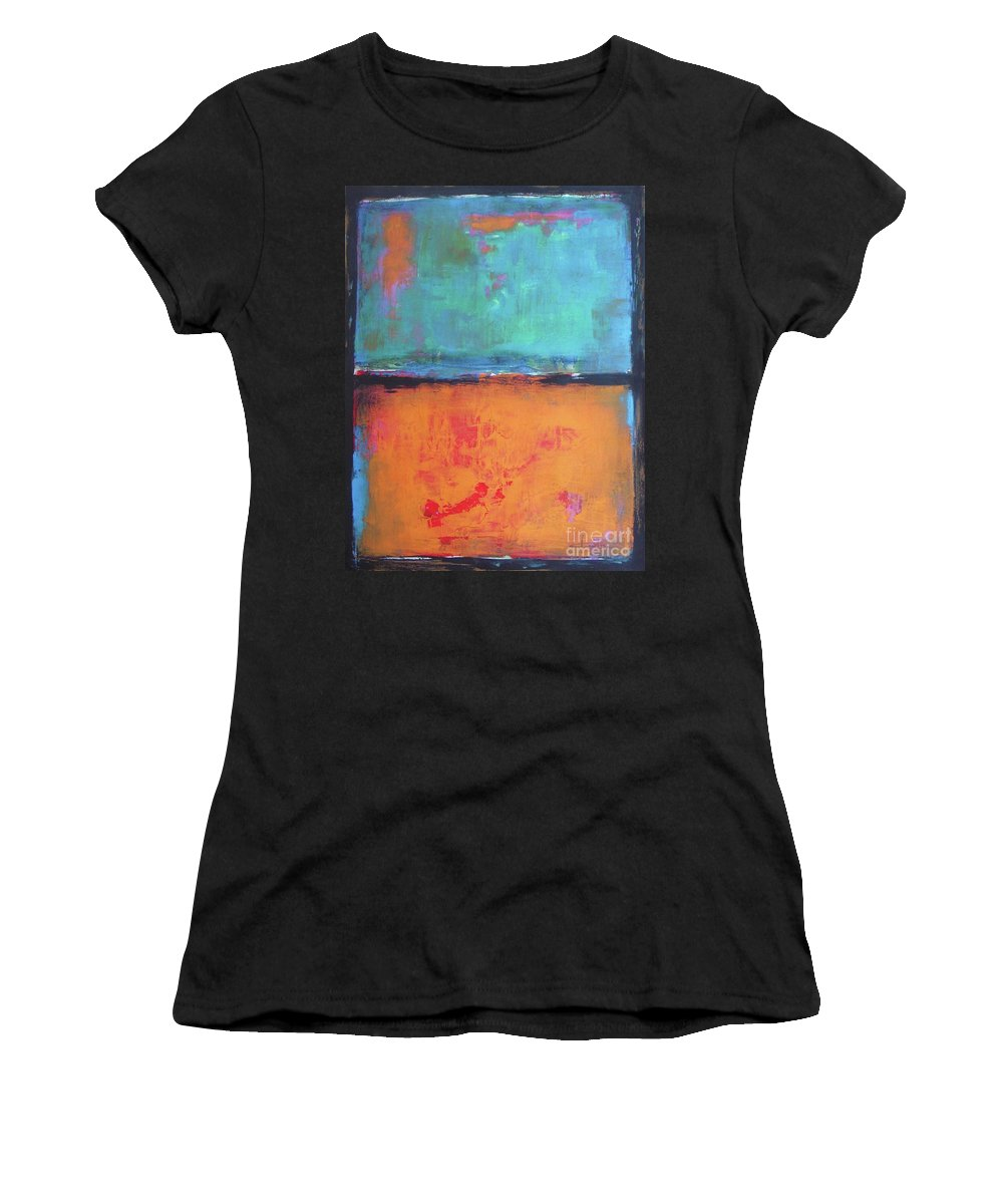 Abstract Women's T-Shirt (Athletic Fit) featuring the painting Sky Sky by Vesna Antic