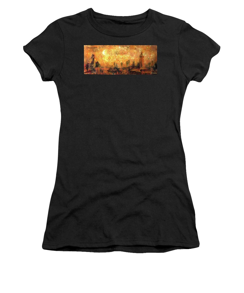 Marrakech Women's T-Shirt (Athletic Fit) featuring the painting Skyline Of Marrakech by Miquel Cazanya