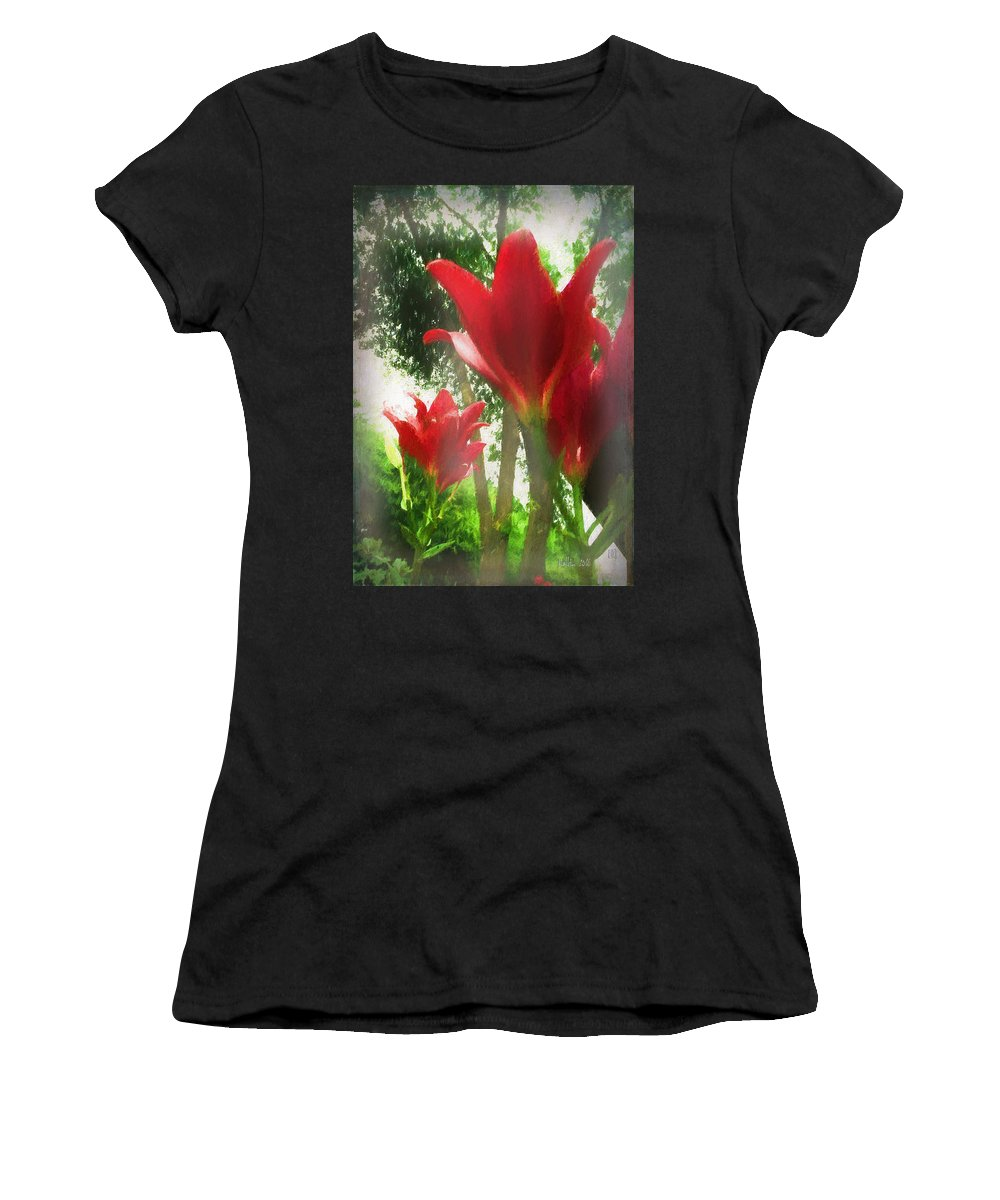 Flowers Women's T-Shirt (Athletic Fit) featuring the photograph Skyward Red Lilies by Marty Malliton