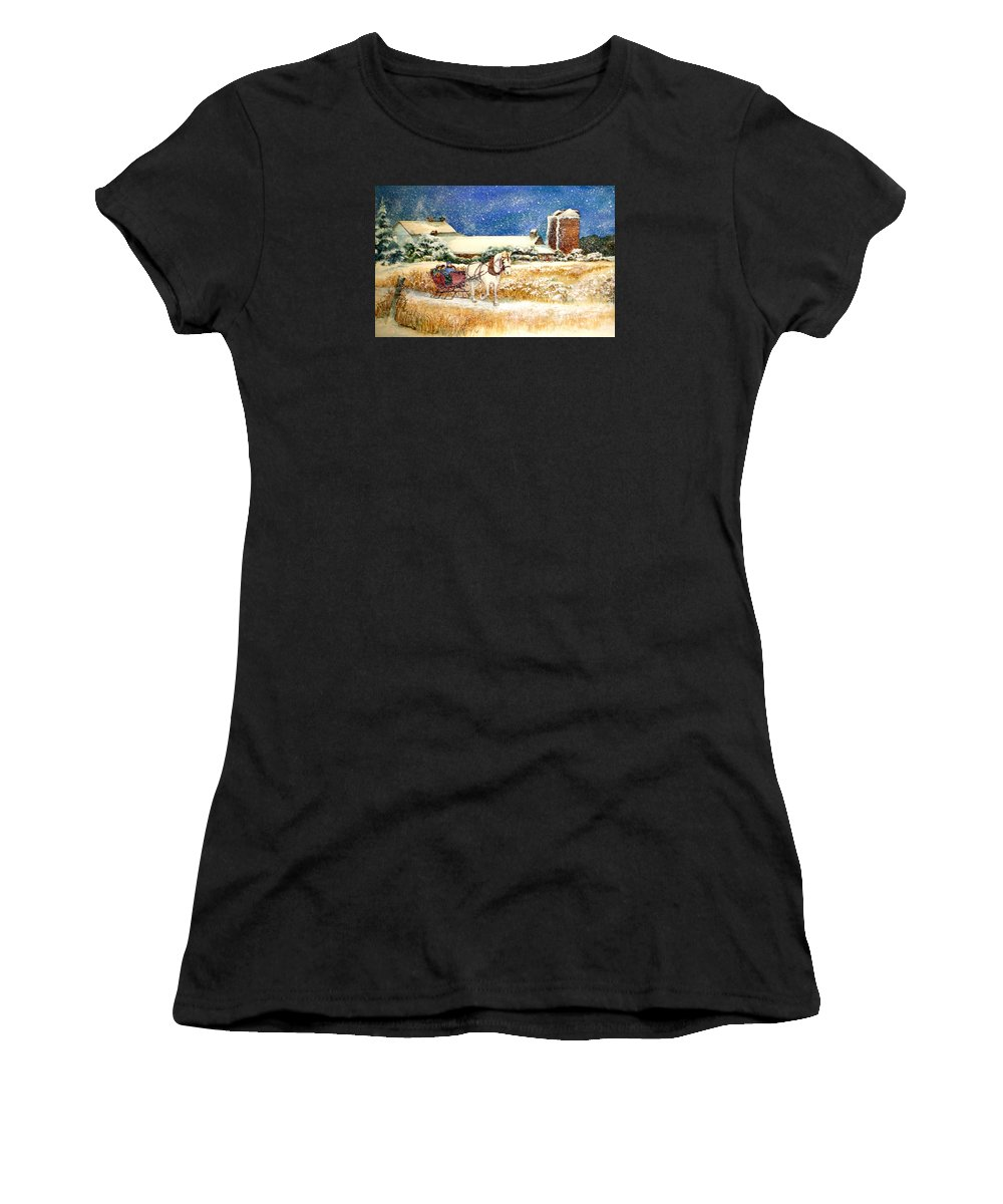 Watercolor;sleigh;horse;barn;silos;winter;snow;sleigh Ride;christmas; Women's T-Shirt (Athletic Fit) featuring the painting Sleigh Ride At Brickers by Lois Mountz
