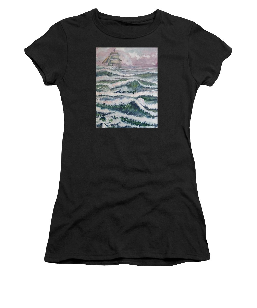 Landscape Women's T-Shirt featuring the painting Sloop At War by Aaron Beaty