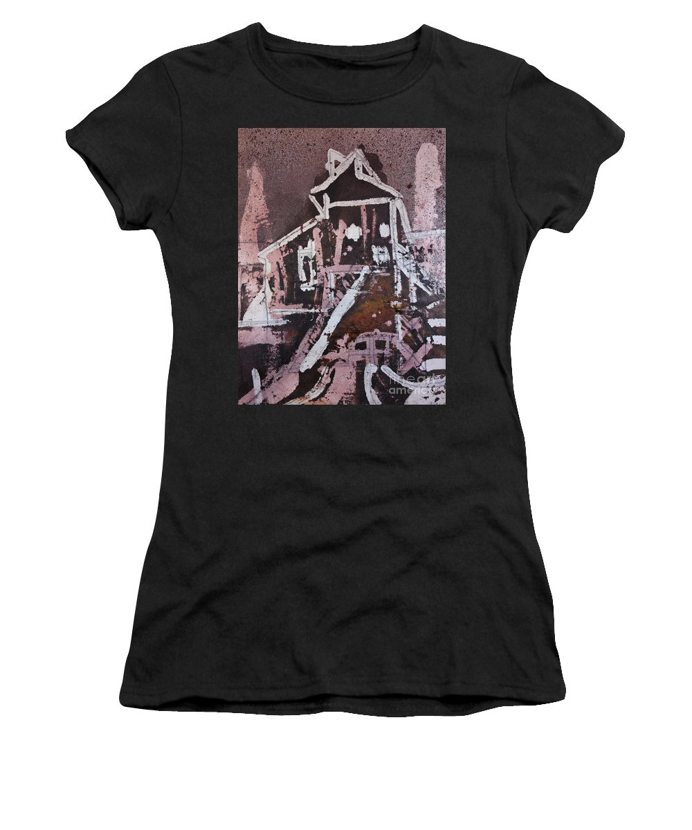 Small Tower 2 - Textile Wax Painting - Contemporary Art - Wax Cityscape - Original Textile Art - Textile Wall Hanging - Elizabethafox Women's T-Shirt (Athletic Fit) featuring the tapestry - textile Small Tower 2 by Elizabetha Fox