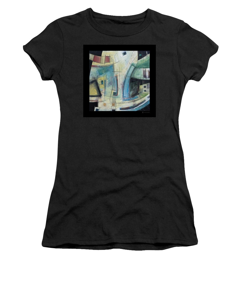 Abstract Women's T-Shirt (Athletic Fit) featuring the painting Small Town Blues by Tim Nyberg