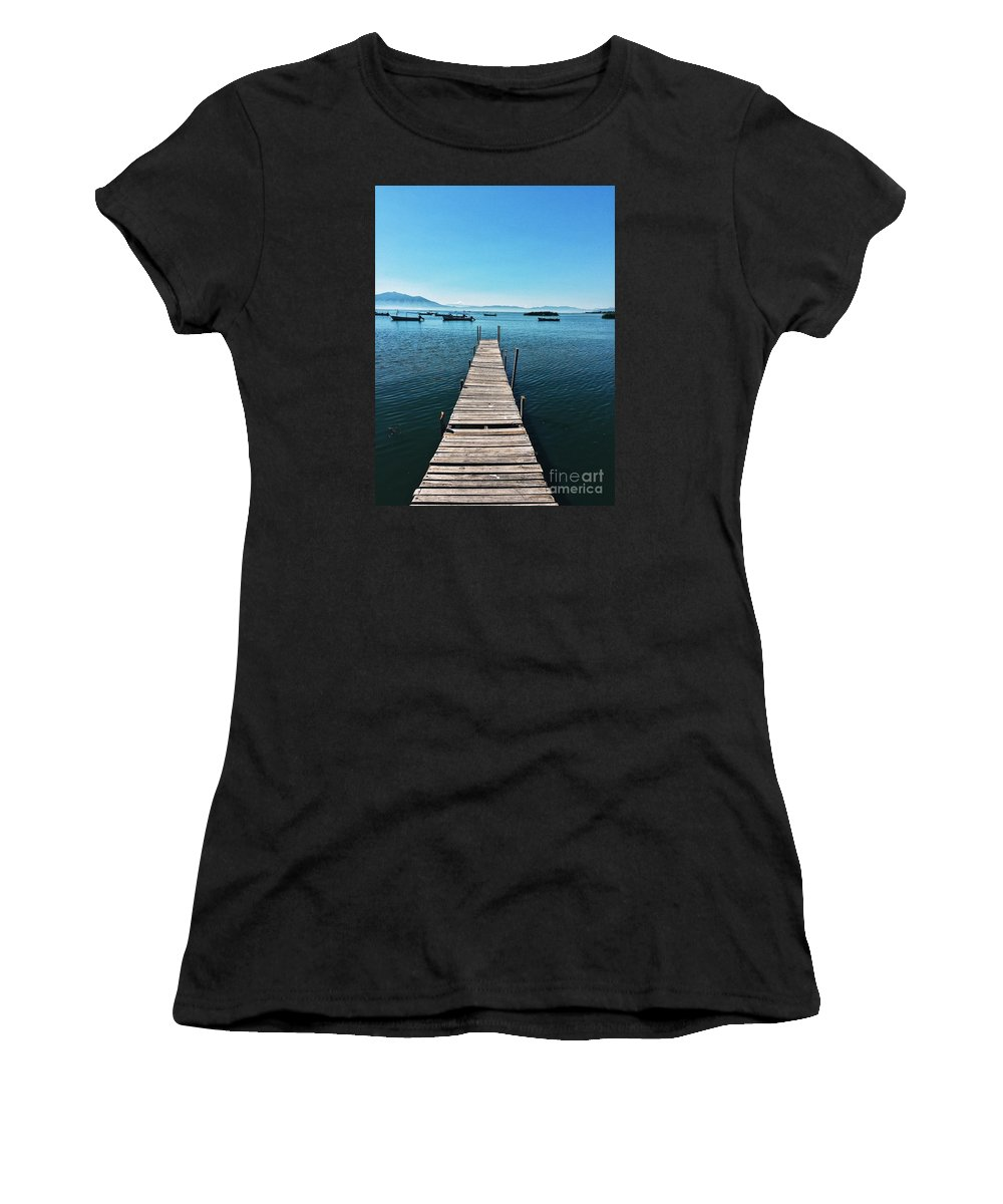 Pier Women's T-Shirt (Athletic Fit) featuring the photograph Small Wood Pier by Edgar Lara