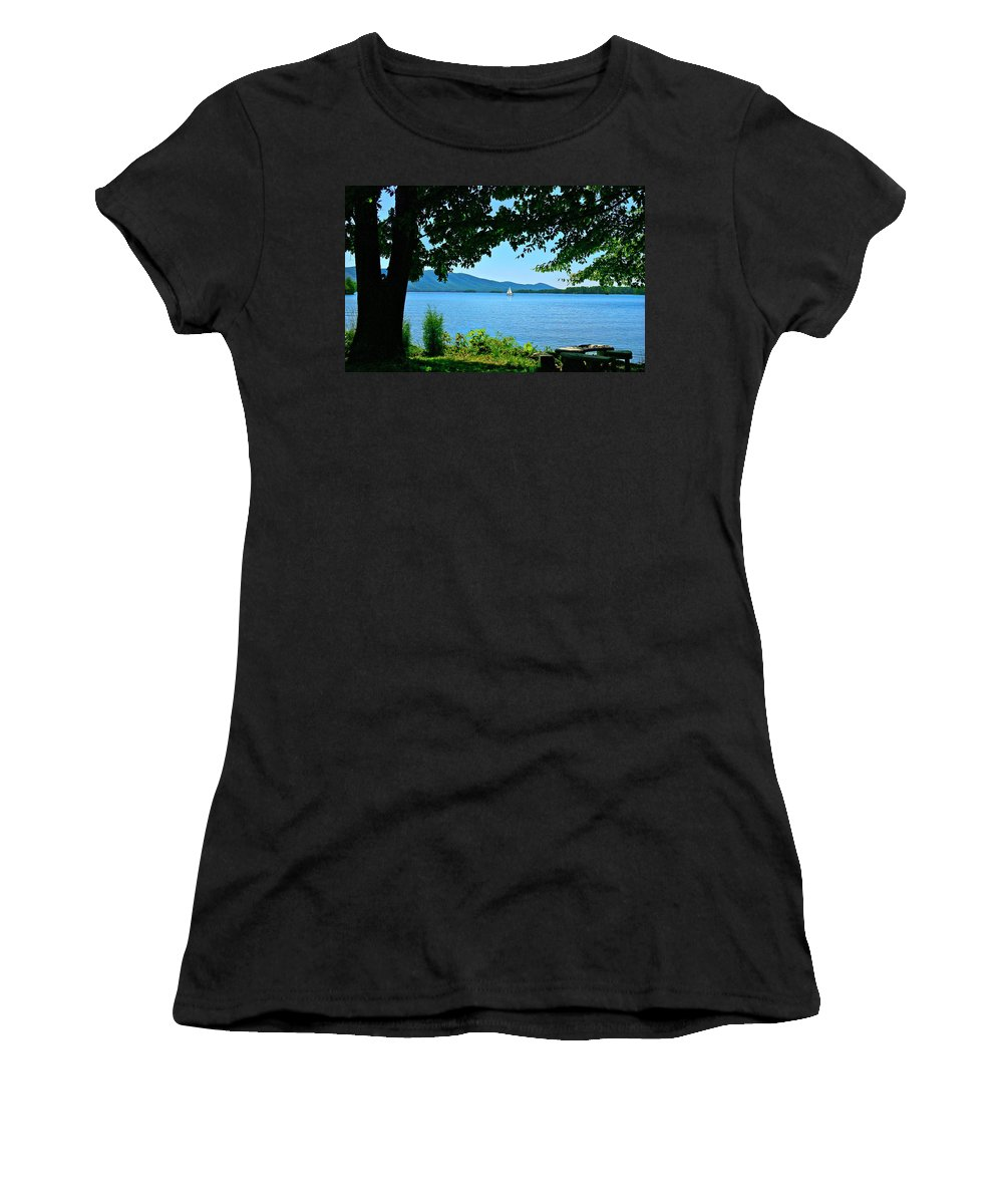 Smith Mountain Lake Women's T-Shirt featuring the photograph Smith Mountain Lake Sailor by The James Roney Collection
