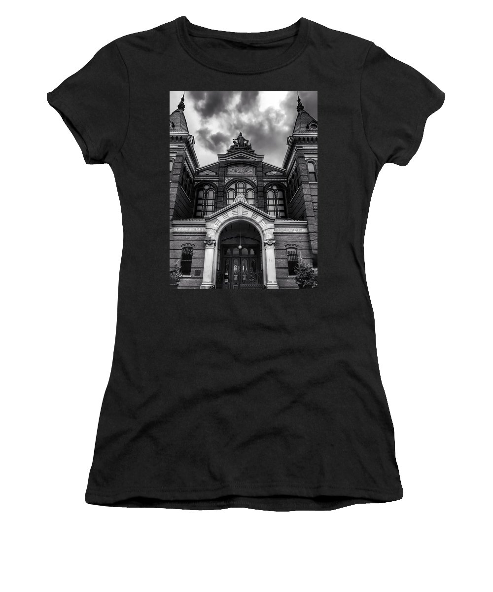Monochrome Women's T-Shirt (Athletic Fit) featuring the photograph Smithsonian Arts And Industries Building by Chris Montcalmo