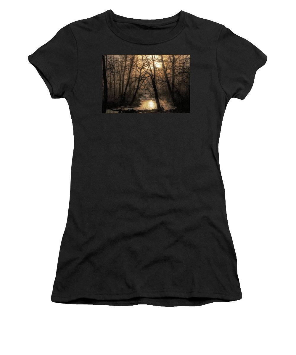 Craig Applegarth Women's T-Shirt featuring the photograph Smoke By The Water by Craig Applegarth