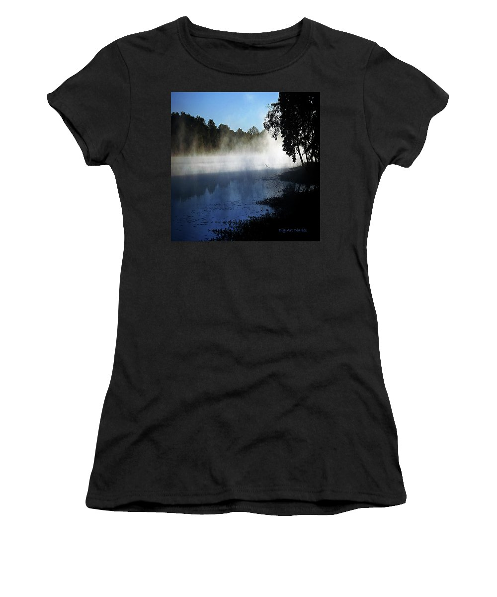 Smoke Women's T-Shirt featuring the digital art Smoke On The Water by DigiArt Diaries by Vicky B Fuller