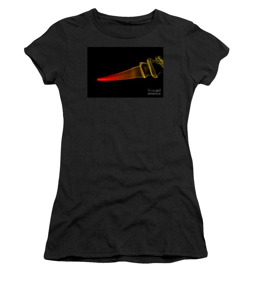 Abstract; Abstraktes; Close Ups; Deutschland; Essen; Europa; Europe; Germany; Highspeed; Makros; Nahaufnahmen; Nord-rhein Westfalen; Rauch; Smoke Women's T-Shirt (Athletic Fit) featuring the photograph smoke XXX by Joerg Lingnau
