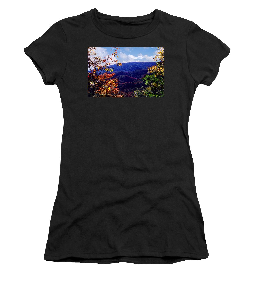 Mountain Women's T-Shirt (Athletic Fit) featuring the photograph Smoky Mountain Autumn View by Nancy Mueller