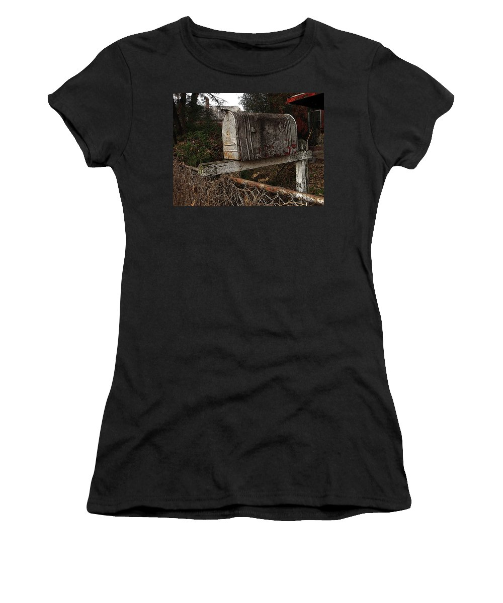 Mail Box Women's T-Shirt (Athletic Fit) featuring the photograph Snail Mail Receptacle by Jay Ressler