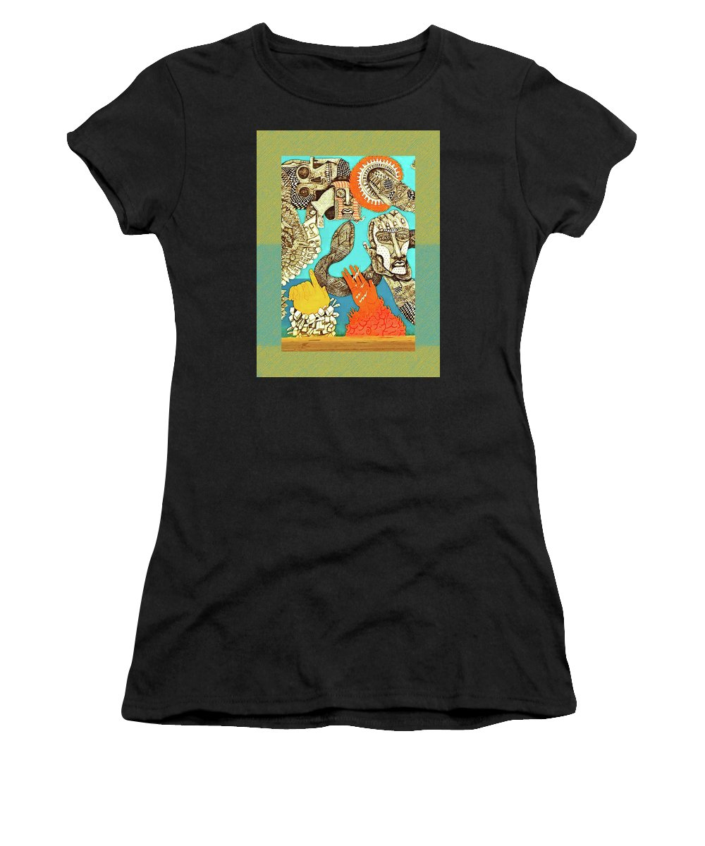 Snake And Skull Women's T-Shirt (Athletic Fit) featuring the photograph Snake And Skull by Shirley Anderson