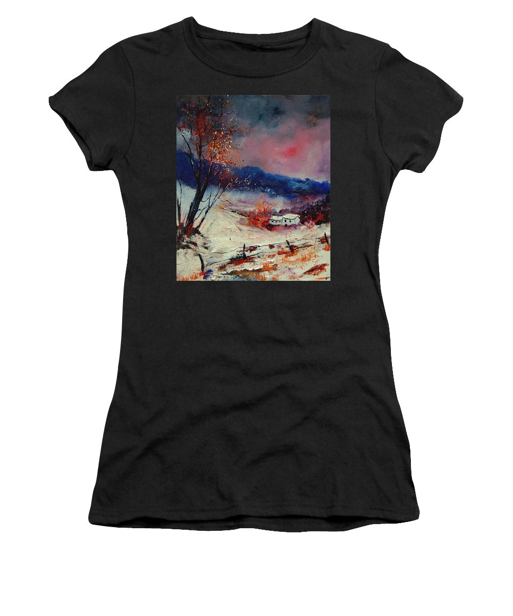 Winter Women's T-Shirt (Athletic Fit) featuring the painting Snow 569020 by Pol Ledent