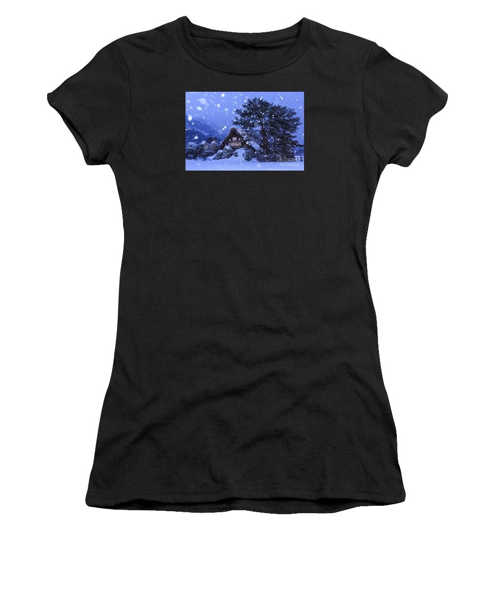 Architecture Women's T-Shirt (Athletic Fit) featuring the photograph Snow, Historic Villages Of Shirakawa, Japan by Chon Kit Leong