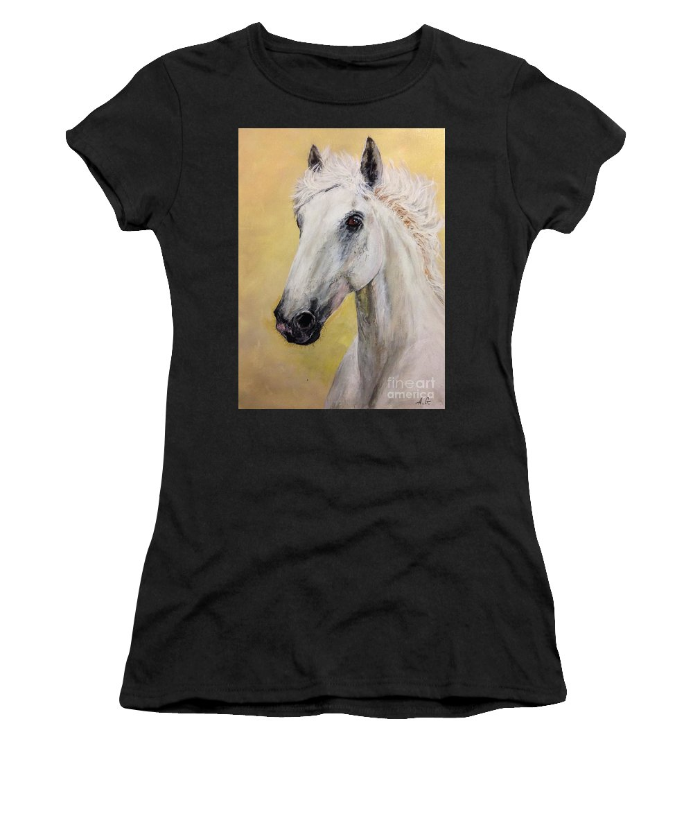 Horse Women's T-Shirt (Athletic Fit) featuring the painting Snow White Horse by Alexander Gatsaniouk