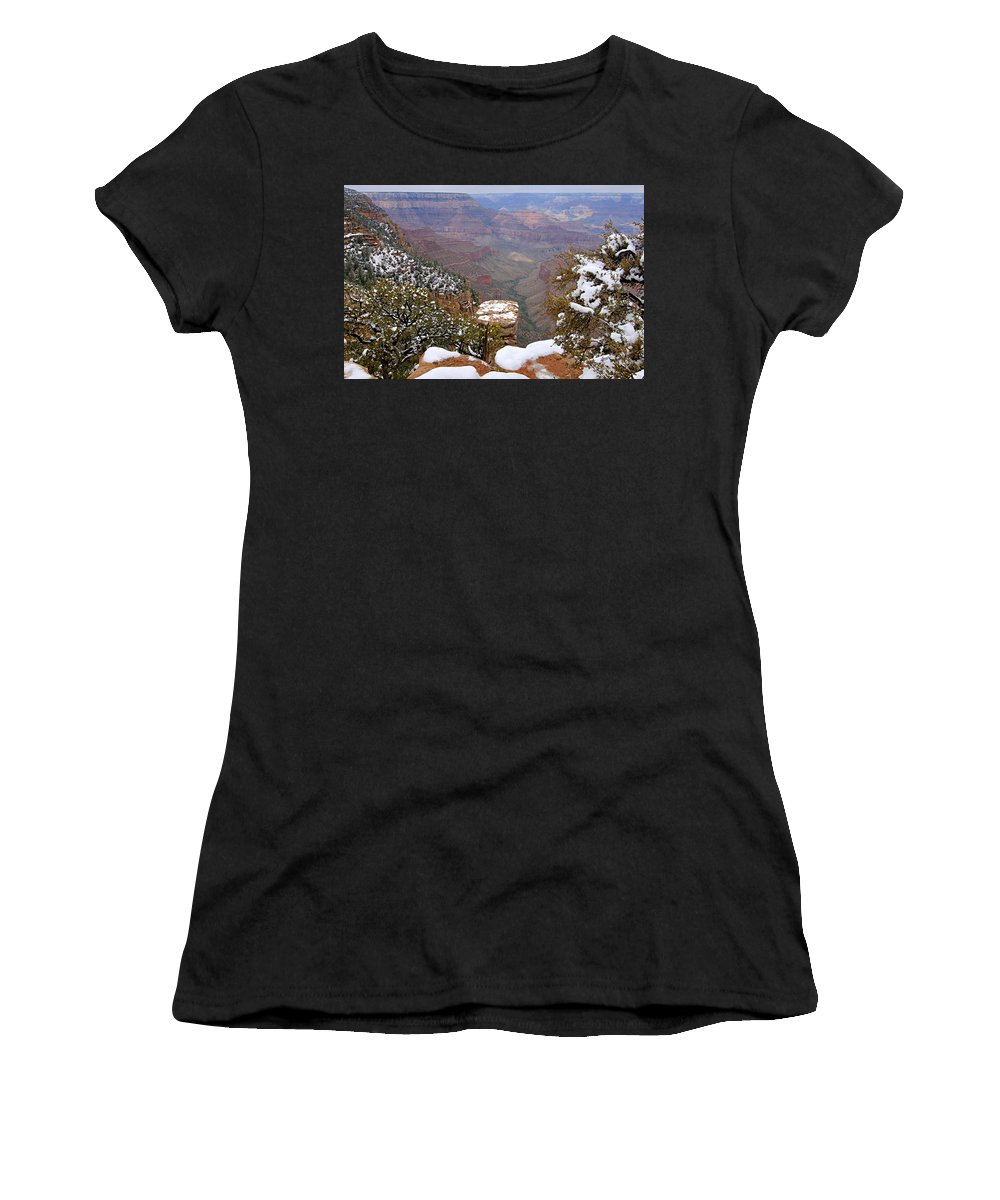 Grand Canyon National Park Women's T-Shirt (Athletic Fit) featuring the photograph Snow On The Grand Canyon by Larry Ricker