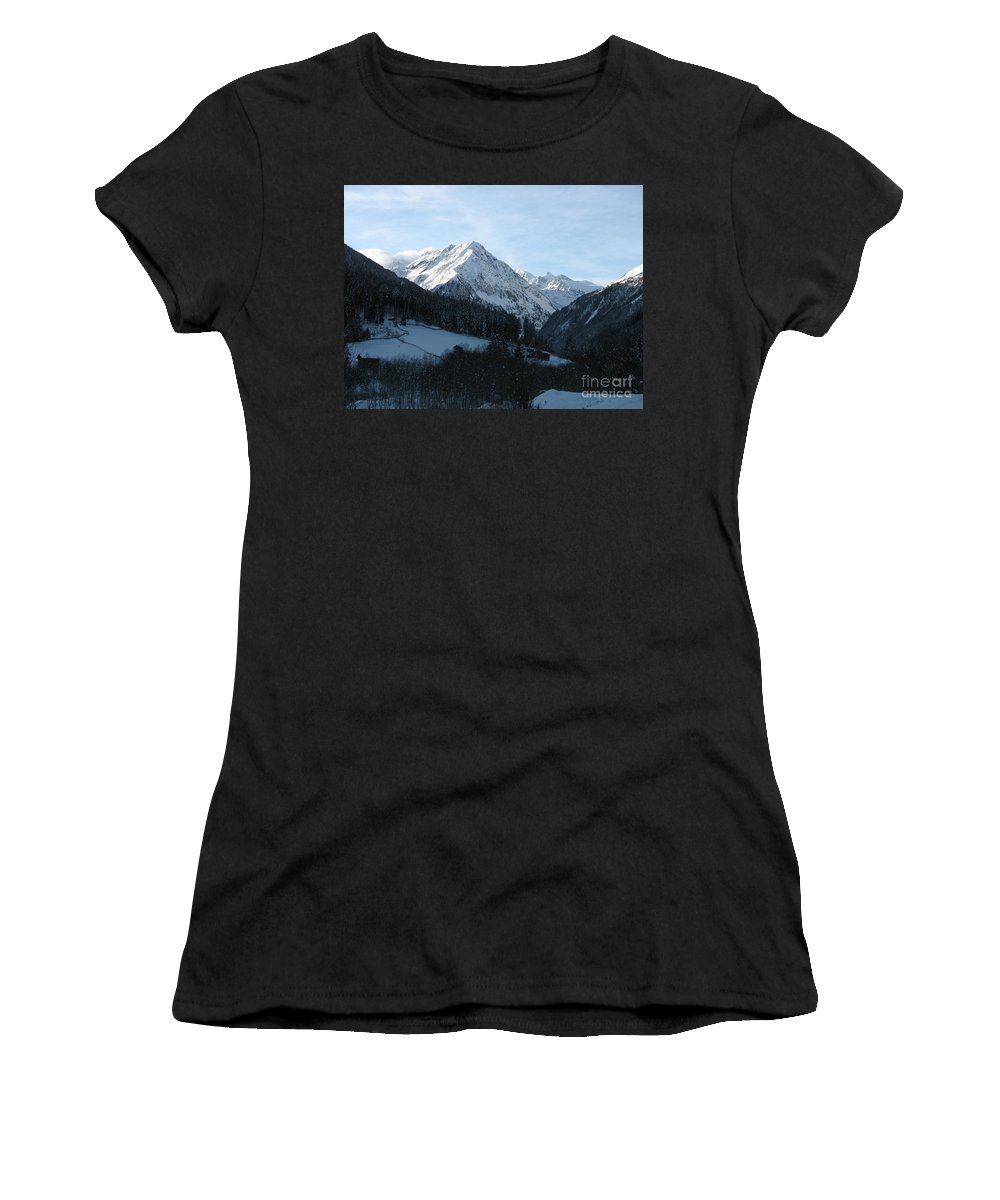 Snow Women's T-Shirt featuring the photograph Snow On The Mountains by Christiane Schulze Art And Photography