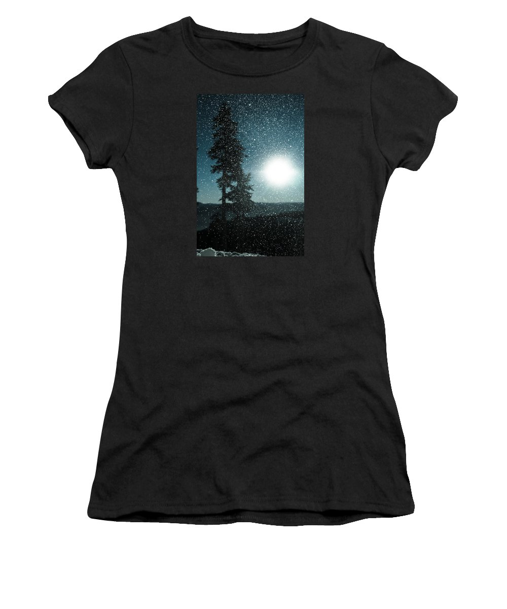 Abstract Women's T-Shirt (Athletic Fit) featuring the photograph Snow Particles Back Light by P S