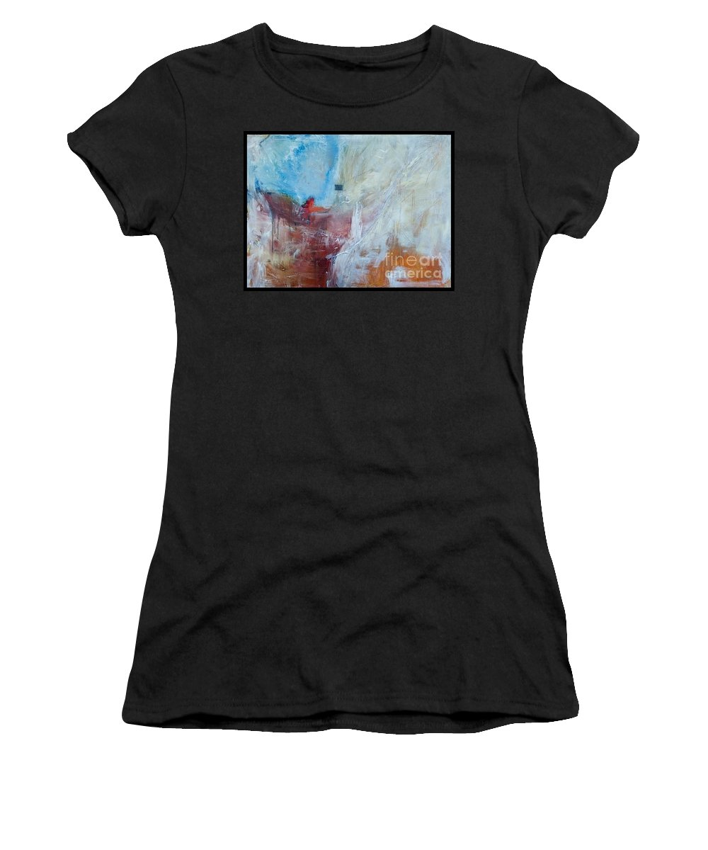 Abstract Women's T-Shirt featuring the painting Snow Shack by Laura Warburton