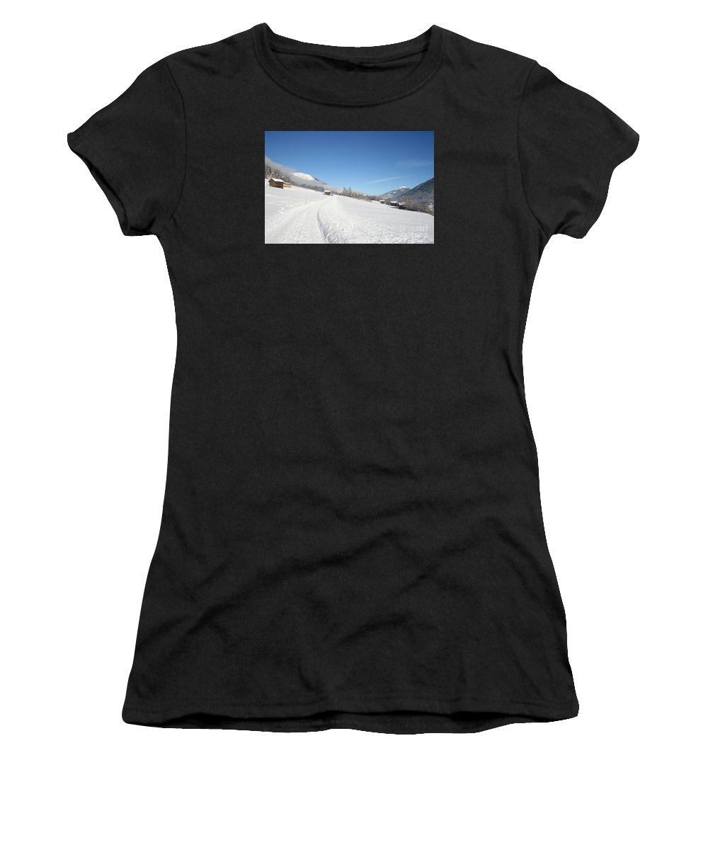 Field Women's T-Shirt (Athletic Fit) featuring the photograph Snow White Field by Christiane Schulze Art And Photography