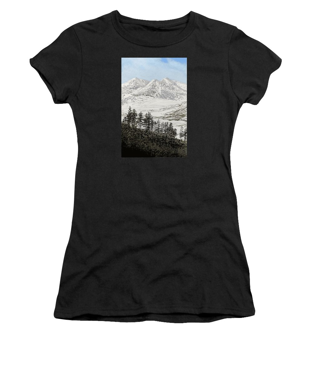 Snowdonia Women's T-Shirt (Athletic Fit) featuring the painting Snowdonia by Alwyn Dempster Jones