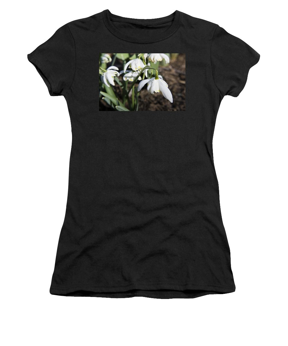 Snowdrops Women's T-Shirt (Athletic Fit) featuring the photograph Snowdrops by Teresa Mucha