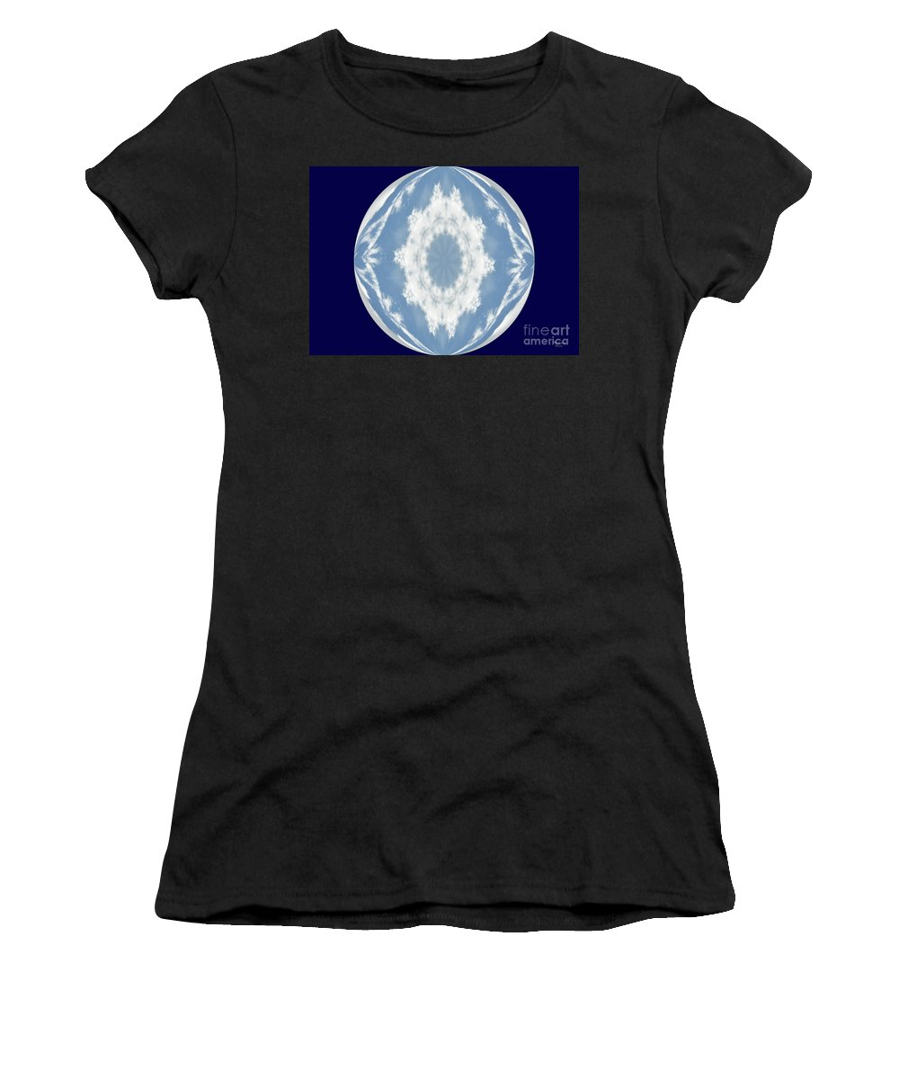 Snowflake Orb Women's T-Shirt (Athletic Fit) featuring the photograph Snowflake Orb by Wanda-Lynn Searles