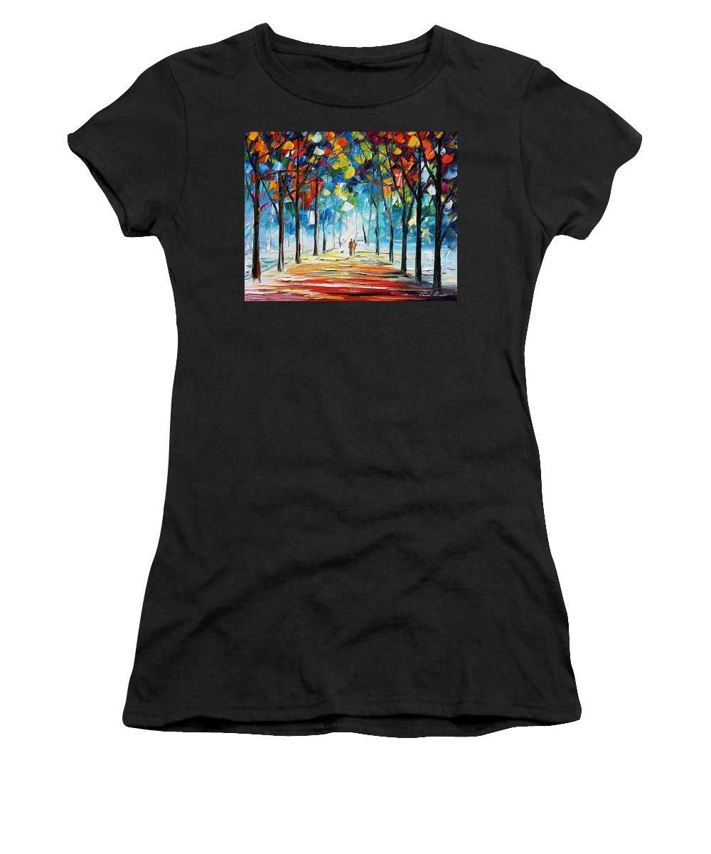 Afremov Women's T-Shirt (Athletic Fit) featuring the painting Snowing Alley by Leonid Afremov