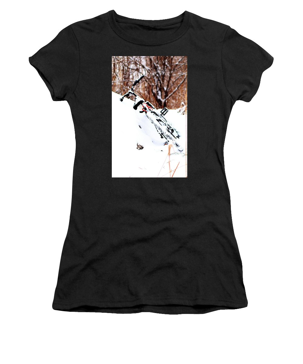 Snow Women's T-Shirt (Athletic Fit) featuring the photograph Snowing On The Bicycle by Merle Smith