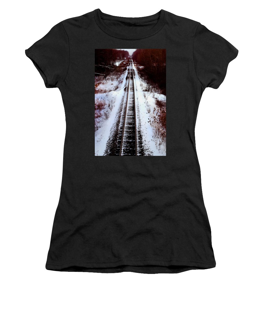 Train Tracks Women's T-Shirt (Athletic Fit) featuring the photograph Snowy Train Tracks by Anthony Jones