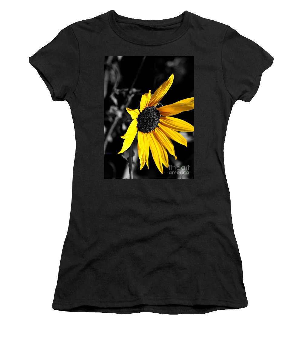 Clay Women's T-Shirt (Athletic Fit) featuring the photograph Soaking Up The Yellow Sunshine by Clayton Bruster