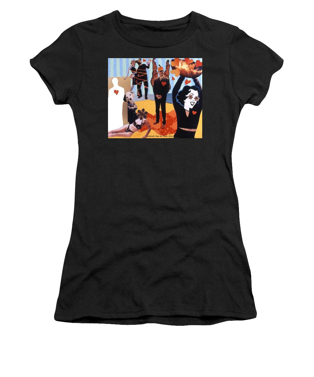 Hearts Women's T-Shirt (Athletic Fit) featuring the drawing Soap Scene #18 Burn In Heaven At The Club Relish by Minaz Jantz