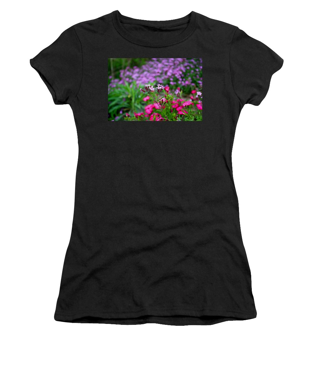 Soapwort Women's T-Shirt (Athletic Fit) featuring the photograph Soapwort And Pinks by Kathryn Meyer