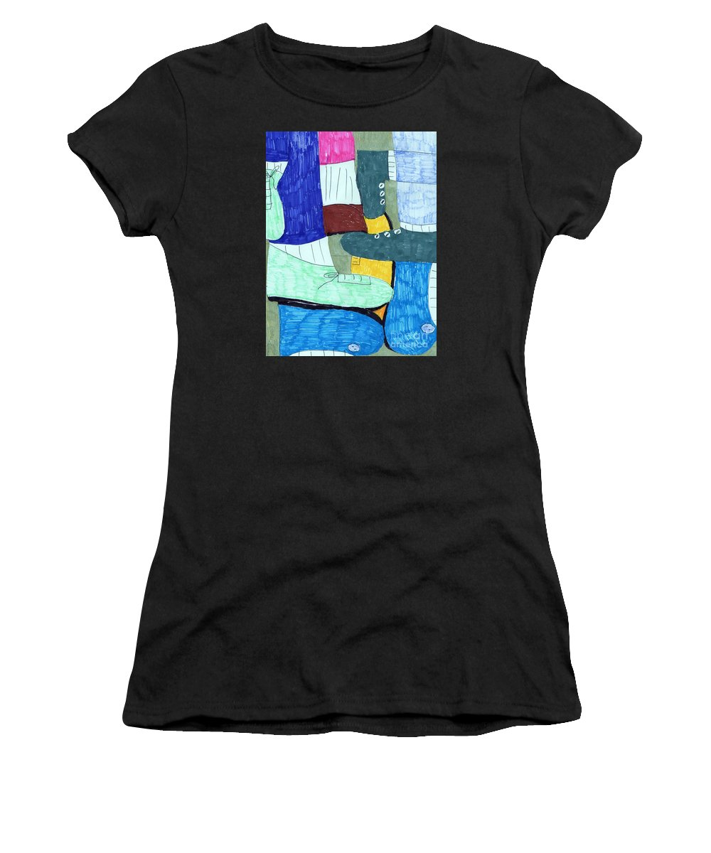 Socks And Shoes Collage Women's T-Shirt featuring the mixed media Socks And Shoes by Elinor Helen Rakowski