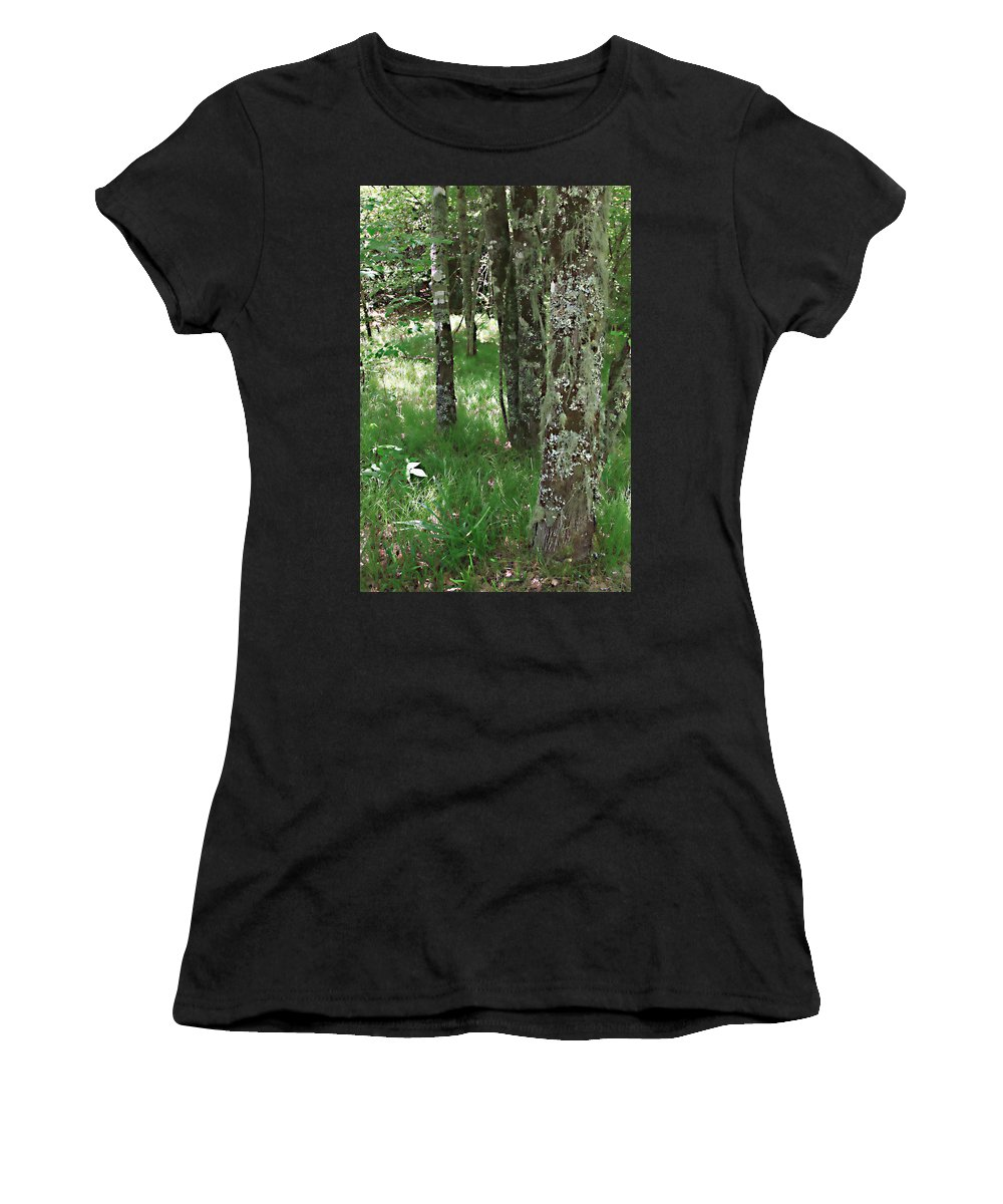Trees Forrest Green Photograph Photography Digital Summer Women's T-Shirt (Athletic Fit) featuring the photograph Soft Trees by Shari Jardina