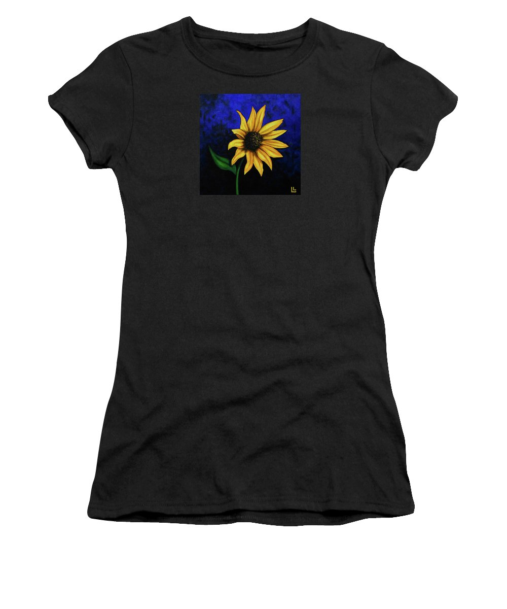 Sunflower Women's T-Shirt (Athletic Fit) featuring the painting Sol Flower by Lindi Levison