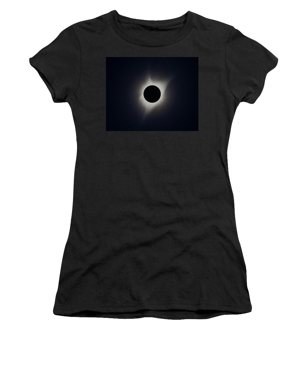 Solar Eclipse Women's T-Shirt featuring the photograph Solar Eclipse Corona Blend by Max Waugh