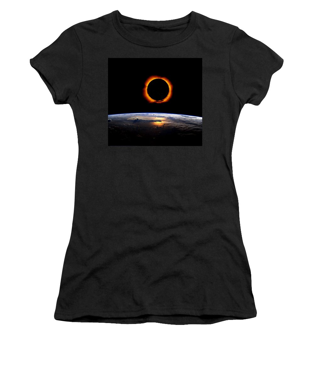 Sun Women's T-Shirt (Athletic Fit) featuring the painting Solar Eclipse From Above The Earth 2 by Celestial Images