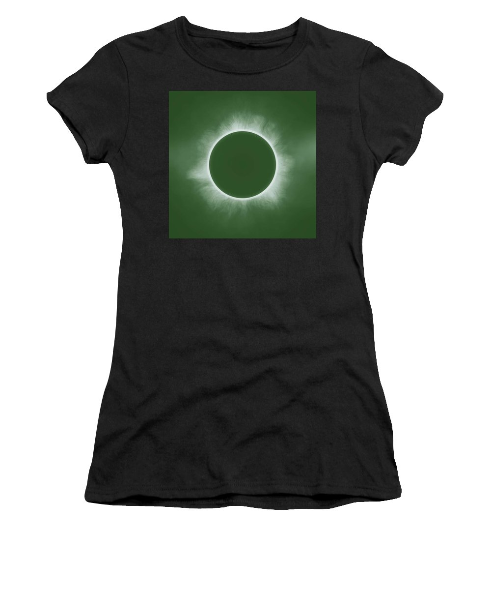 Sun Women's T-Shirt (Athletic Fit) featuring the painting Solar Eclipse In Forest Color by Celestial Images