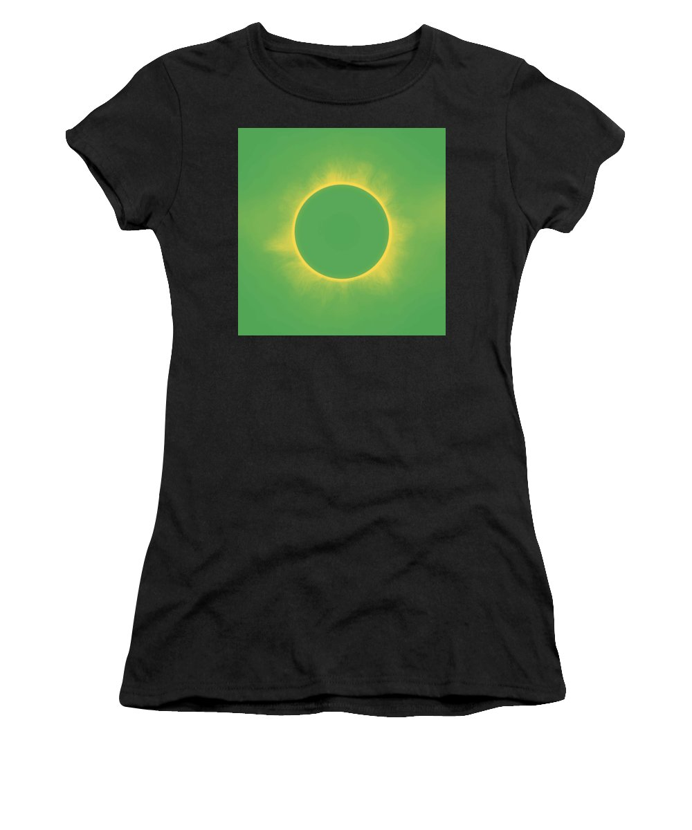 Sun Women's T-Shirt (Athletic Fit) featuring the painting Solar Eclipse In Spring Green Color by Celestial Images