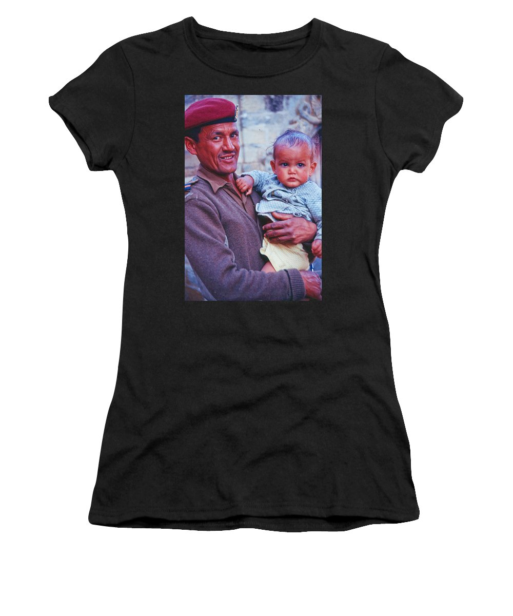 Nepal Women's T-Shirt (Athletic Fit) featuring the photograph Soldier And Baby by Omar Shafey