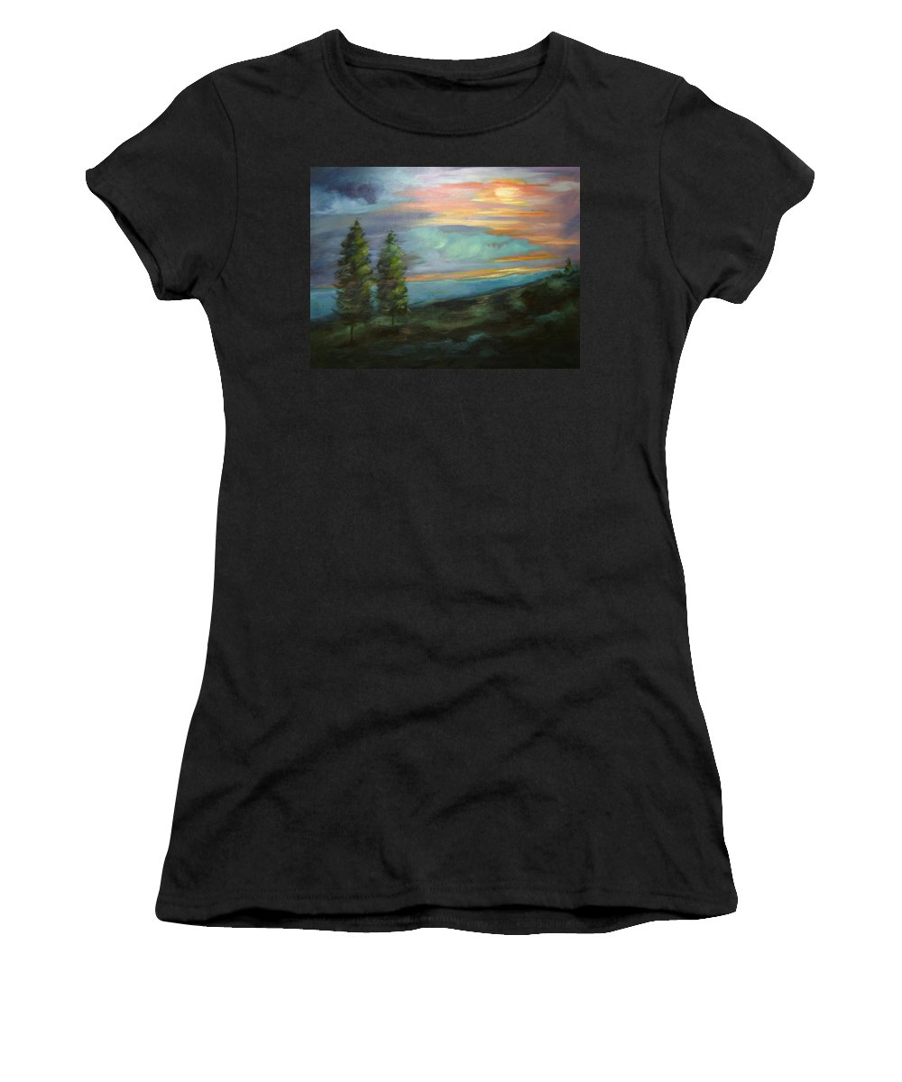 Landscape Women's T-Shirt (Athletic Fit) featuring the painting Soledad by Ginger Concepcion
